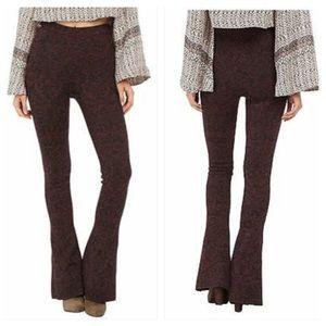 Free People Lurex Knit Flare Jacquard Leggings
